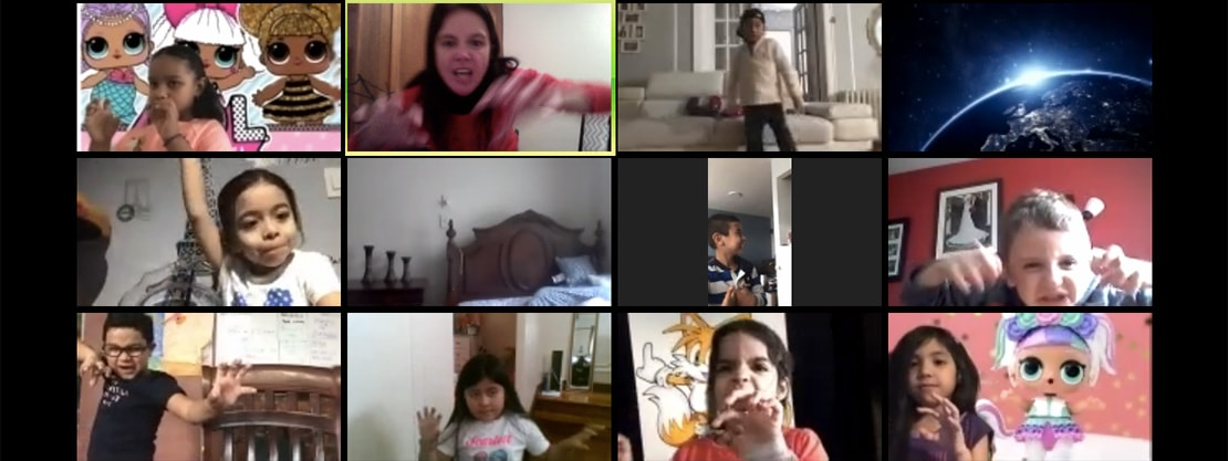 collage of students on video call